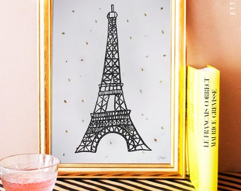 eiffel tower digital art print. home decor. gold leaf poster. illustration