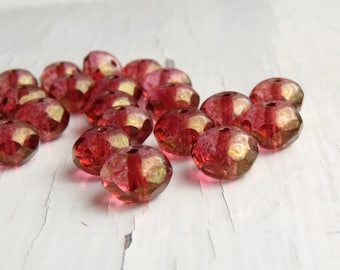 Golden Coral - 8 x 6mm faceted rondelles in transparent coral pink with a bronze Picasso finish (9), czech glass beads, pink rondelles