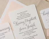 Verbena Suite - Modern Letterpress Wedding Invitation Sample, Black, Blush, Pink, Liner, Calligraphy, Script, Swirls, Simple, Classic