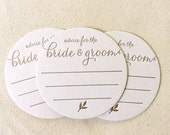 Letterpress Coasters - Bride and Groom wedding advice, table decor, favors, rehearsal dinner, gold, unique, engagement party - Rustic