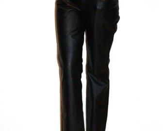 Vintage Black Genuine Leather Pants