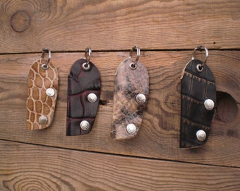 Leather Key Holder, Key pouch, Leather keychain, Car Key Holder, Key chain, Croc print, Animal print, Key purse, Key case, Key cover, BMW