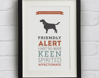 English Springer Spaniel Dog Breed Traits Print