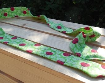 Lady Bugs on Green Leaf Print Cool Scarf
