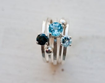 Sky and Ocean - Blue Topaz Gemstone Ring Set of 5 - Blue Spectrum - London Blue, Sky Blue, Swiss Blue Topaz  Silver Ring Set