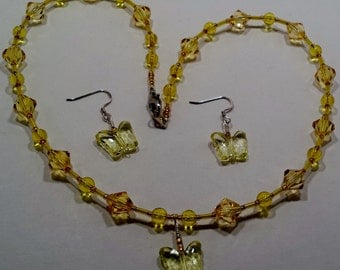 Yellow butterfly necklace & earring set.
