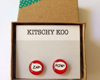 FREE SHIPPING - Red Zap! Pow! Geek Unique Earrings - Surgical Steel Sensitive Ears - Geek Kitsch - Nerd Fun Comic - Marvel - Superhero