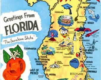 Florida State Map Sunshine State Vintage  Postcard (unused)