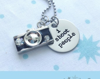 I Shoot People Stainless Steel Photographer Camera Necklace, Gift for Photographer, Photography Gift, Wedding Photographer