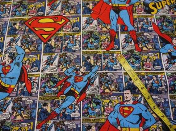 Comic Book Cover Fabric ~ Comic book superman and logo fat quarter fabric cotton