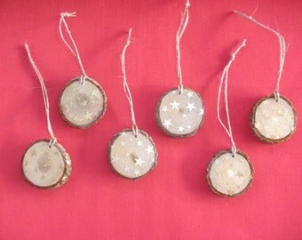 6 Rustic Christmas Ornaments, Gold Stars, Reclaimed Tree Branch Slice