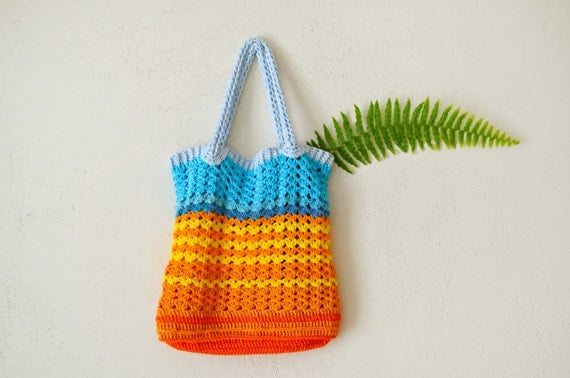 Crochet Shopping Bag : One of a kind, Crochet Tote bag, shopping bag, colorful bohemian ...