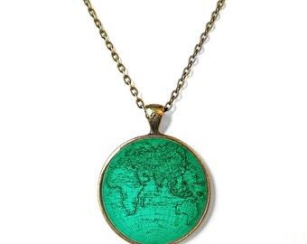 Teal Antique Minimalist World Map Necklace Atlas Globe Map Jewelry, Bohemian Jewelry Bohemian Gypsy Jewelry, Wanderlust Jewelry Boho Jewelry
