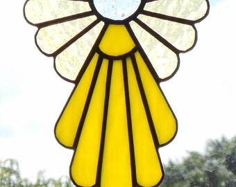 Stained Glass Angel Suncatcher, Yellow #405