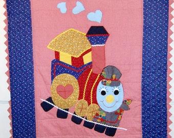 "Handmade Baby Quilt, ""Choo Choo Train"""