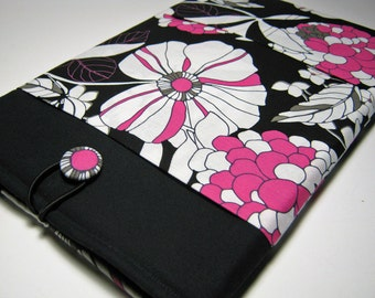 Macbook Pro Case, Macbook Pro Sleeve, 15 inch Macbook Pro Cover, 15 inch Macbook Pro Case, Laptop Sleeve, Pink and Black Floral