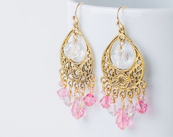 SALE Chandelier earrings, pink Swarovski antique gold