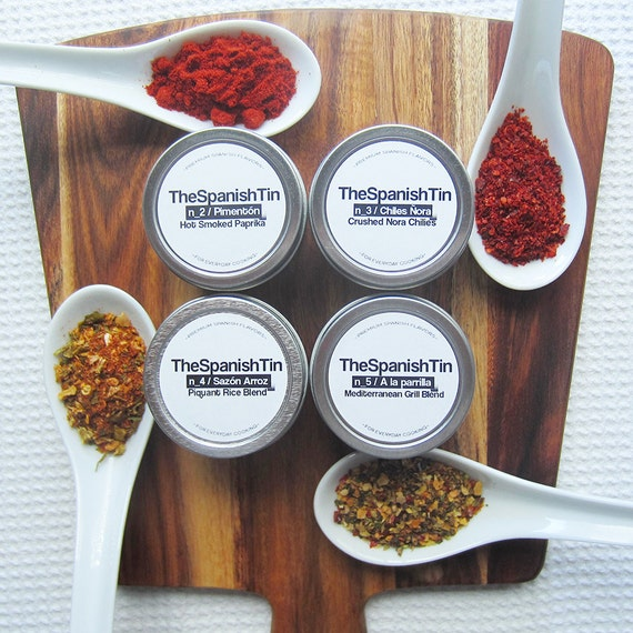 SALE Kitchen Quad Spice Collection, Foodie Gift, Set of 4 Spices, Gift under 25, Father's Day Gift