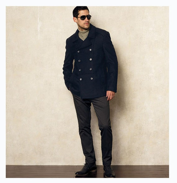 MEN'S PEA COAT Pattern Double Breasted Jacket Fitted