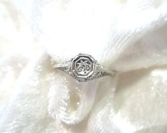 Art Deco Style 14K White Gold Diamond Filigree Ring