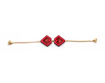 Red Glitter Resin Geometric Bracelet