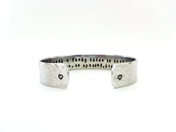 Maid of Honor Gift, Bridesmaid Gift | Im such a lucky Bride, to have someone like you, so special... Custom Stamped Bracelet