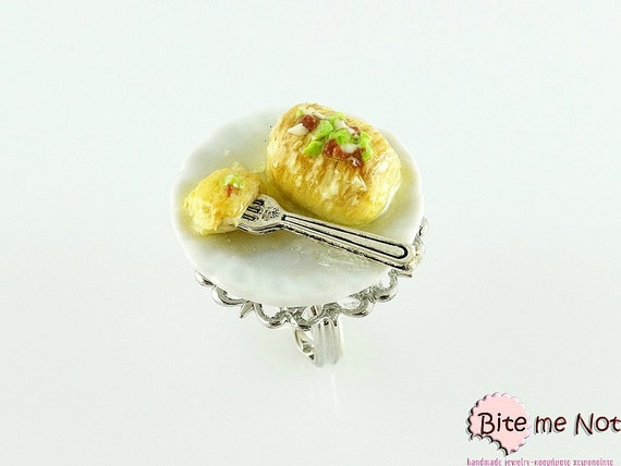 Food Jewelry Greek Traditional Kantaifi Ring, Traditional Ring, Miniature Food, Polymer Clay Sweets, Kawaii Jewelry, Foodie Gift