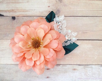 Peach Wedding Flower Fascinator, Floral Headpiece, Bridal Hair Piece, autumn wedding theme