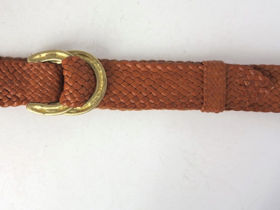 kangaroo leather plaited belt with brass horseshoe buckle