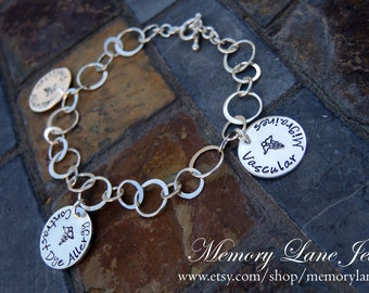 Large Link Sterling Silver Medic Alert Bracelet  - Designer Medical Alert - Stylish Medical Alert - Custom Medical Alert
