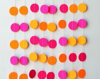Neon garland, Birthday party decor, Pink orange garland, Summer decoration, Nursery decor, Neon wedding