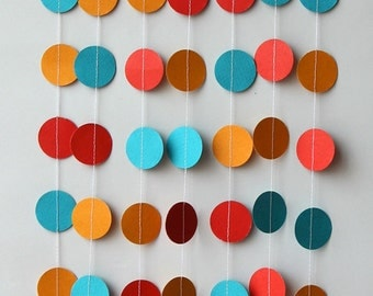 Birthday garland,Teal, red, gold yellow paper garland,Birthday decorations,Birthday party decor,Circus birthday decoration,Circle garland