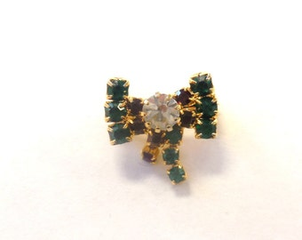 Vintage Rhinestone Bow Brooch Green Red Pin Yellow Gold Tone Metal Sparkly Jewelry Women's Fashion Accessories Gifts