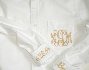 Monogram Oversized Shirt  with Pocket Monogram and 2 Cuff  Embroidery Bride Wedding Shirt, Maid Of Honor  and Bridesmaid Boyfriend Shirts