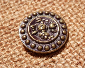 Antique Floral Button Padback Collectible