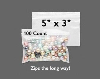 "CLEARANCE - Plastic Bags - Zipper Bag - 5"" x 3"" - Zip Close Bags - Zip Bag - Storage Bag - Resealable Bag - 100 COUNT - Side Zip Bag"