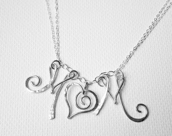 Personalized Mother's Day Necklace, Mom Heart Necklace, Sterling Silver Mom Necklace, Initial Heart Necklace, Mom Personalized Necklace,