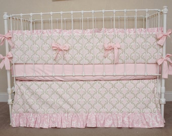 Pink and Taupe Damask Baby Girl Crib Cot Bedding