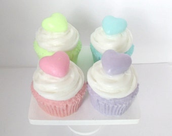 Four Pack Cupcake Soaps - Heart Topped - Choose your Scent