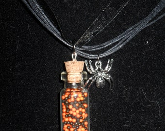 Halloween Non Parriels Bottle Charm Necklace with OPTIONAL Spider Charm