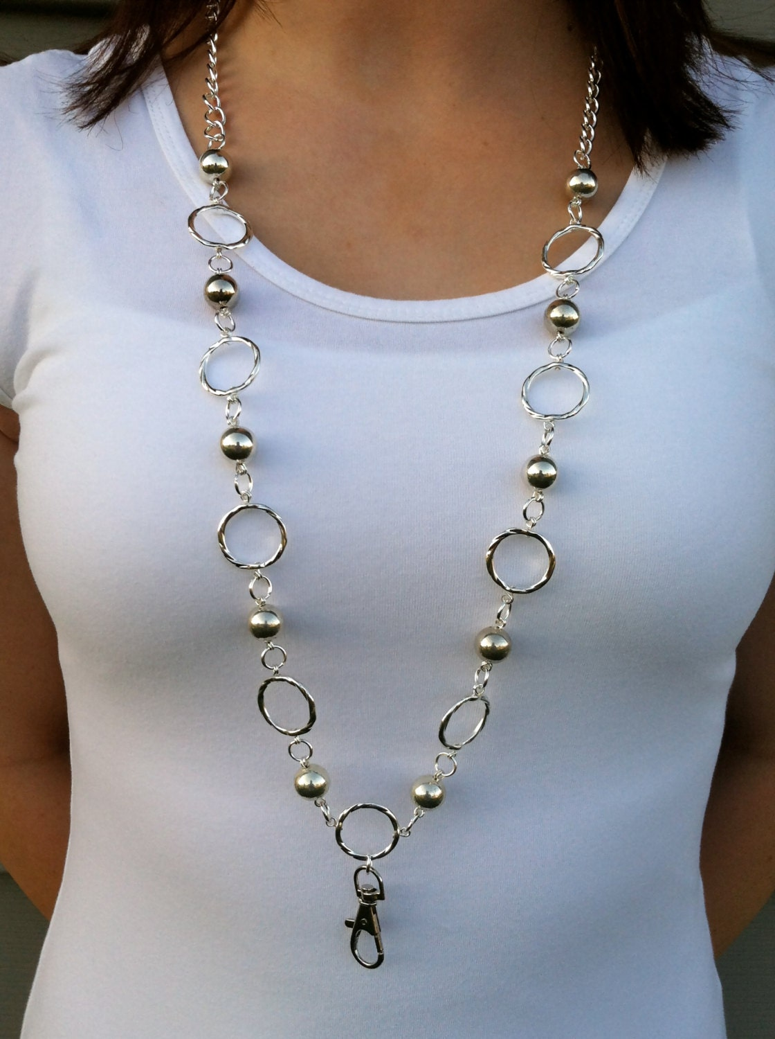 silver lanyard necklace by myminderella on etsy