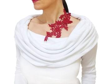 Burgundy statement lace necklace, Asymmetric Necklace, Gothic Bold, Designer Jewelry