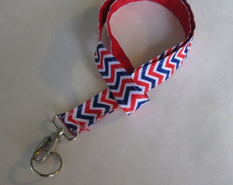 Red White and Blue Chevron Lanyard Keychains, Cool Lanyards for Keys, Id Badge Holder Necklace Lanyards, Cute Lanyards for Badges