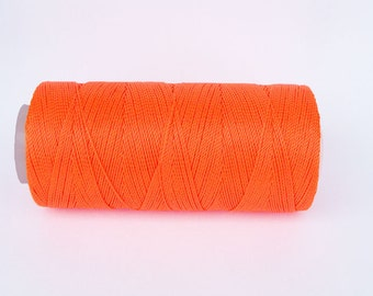 NEON ORANGE Fine Crochet String - Not Waxed - Nylon Thread - Macrame Cord - Spool of 300 Yards