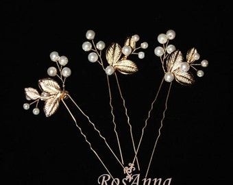 Bridal Pearl Gold Leaves Hair Vine Pin Hair Comb Petals Olive Leaf Bridesmaid Bridal Hair piece Headpiece Wedding