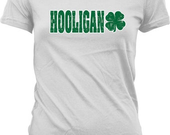 HOOLIGAN St. Patrick's Day Shirt, 4 Leaf Clover. Lucky, St Patricks Day Tshirt, St Paddys Junior and Women's Tshirts GH_00088
