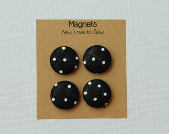 Fabric Covered Button Magnets / White Polka Dots on Black Magnets / Polka Dot Magnets / Refrigerator Magnets / Strong Magnets