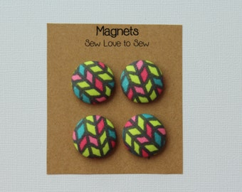 Fabric Covered Button Magnets / Neon Parallelograms on Gray Magnets / Strong Magnets / Refrigerator Magnets / Fridge Magnets