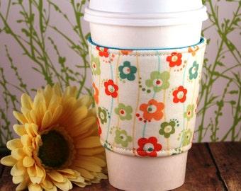 Fabric Coffee Cozy / Flower Lines Coffee Cozy / Flower Coffee Cozy / Coffee Cozy / Tea Cozy