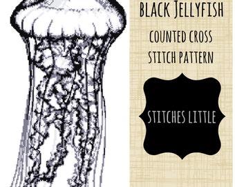 Jellyfish Cross Stitch Pattern - Black Jellyfish - Nautical Cross Stitch - Ocean Cross Stitch - PDF Pattern - Instant Download